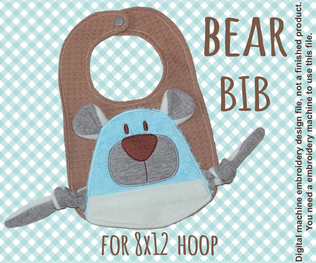 8x12 hoop - BIB - Cute BEAR - Machine Embroidery Design File, digital download millymellydesigns