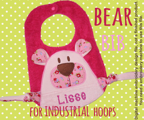 Industrial hoop size - BIB - Cute BEAR - Machine Embroidery Design File, digital download - millymellydesigns