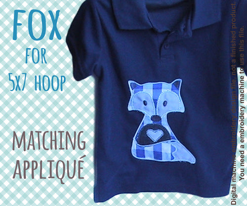 5x7 hoop - Cute fox matching appliqué design - In The Hoop - Machine Embroidery Design File, digital download millymellydesigns