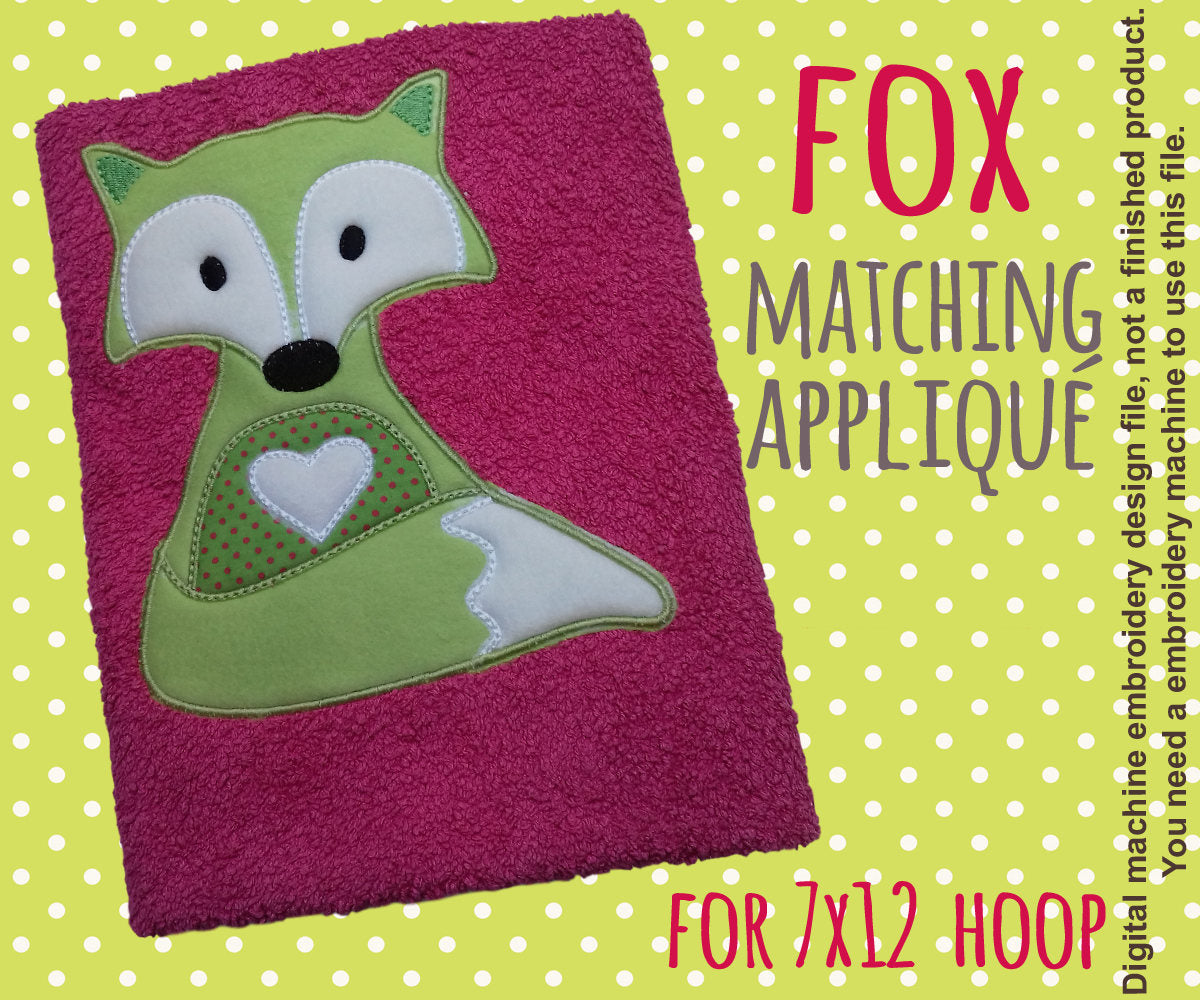 7x12 hoop - Cute fox matching appliqué design - In The Hoop - Machine Embroidery Design File, digital download millymellydesigns