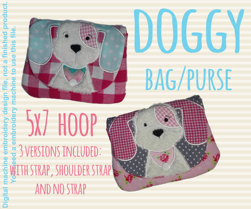 5x7 hoop DOG bag/purse, completely made in TWO hoopings! Machine Embroidery Design File, digital download millymellydesigns