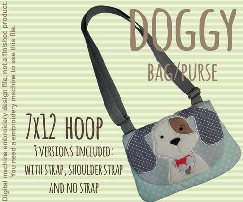 7x12 hoop DOG bag/purse, completely made in TWO hoopings! Machine Embroidery Design File, digital download millymellydesigns