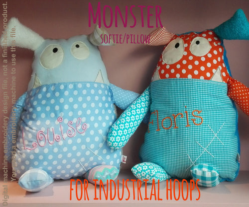 CUTE MONSTER softie toy/pillow - for industrial hoops - ITH - In The Hoop - Machine Embroidery Design File, digital download millymellydesigns