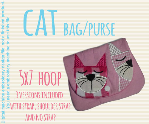 5x7 hoop CAT bag/purse, completely made in TWO hoopings! Machine Embroidery Design File, digital download millymellydesigns