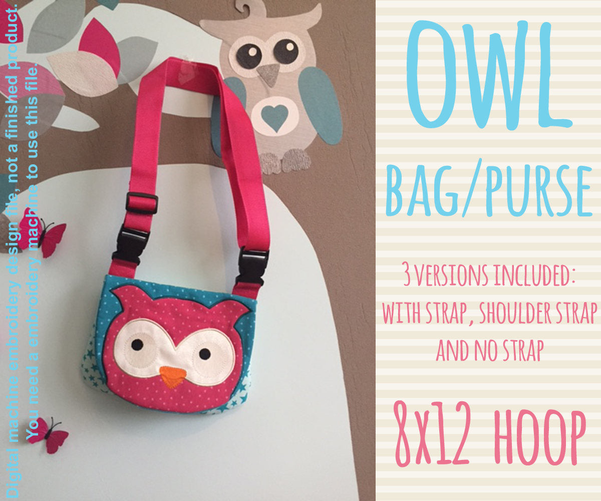 8x12 hoop OWL bag/purse, completely made in TWO hoopings! Machine Embroidery Design File, digital download millymellydesigns