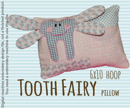 Tooth fairy pillow - 6x10 hoop - ITH - In The Hoop - Machine Embroidery Design File, digital download millymellydesigns
