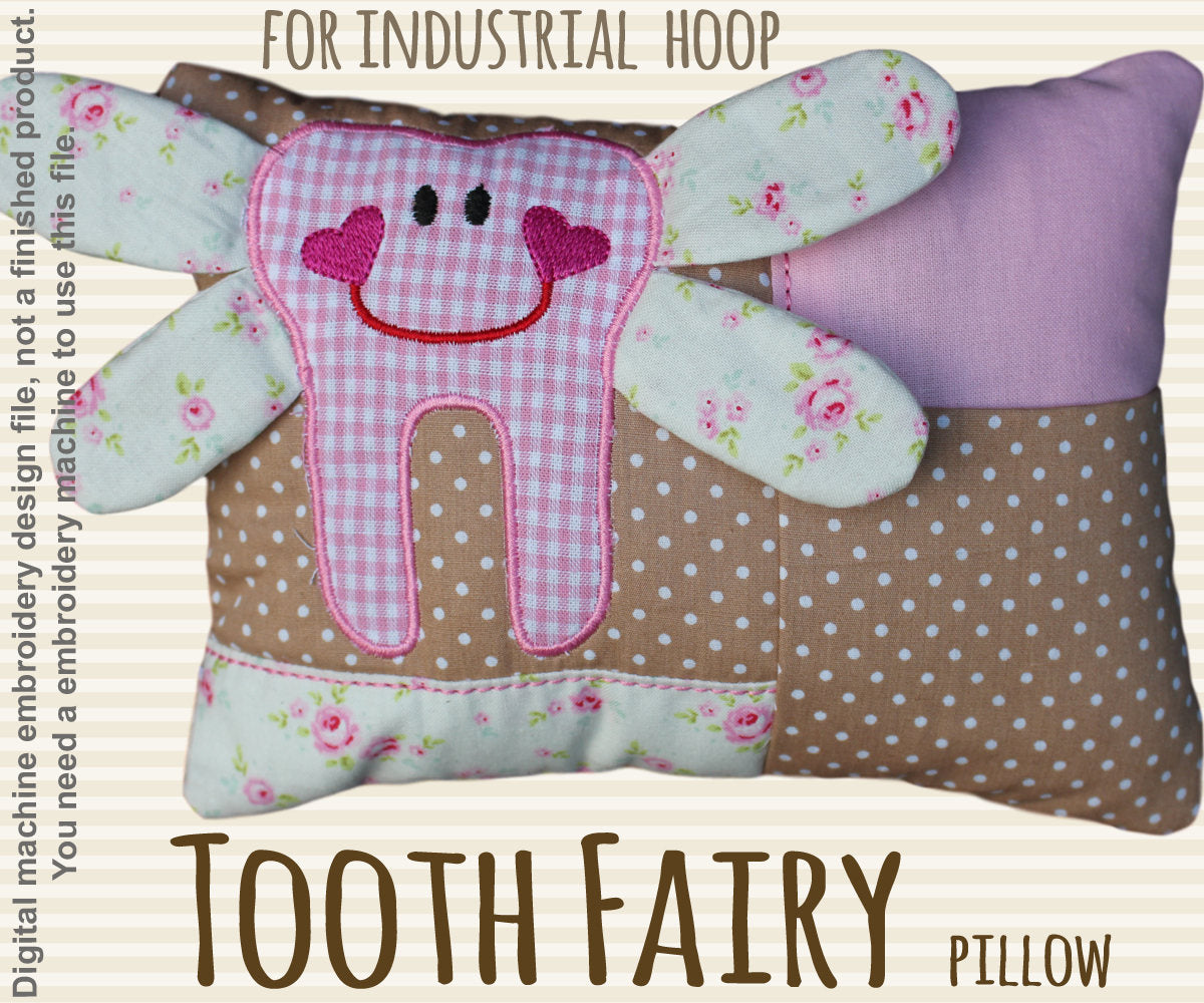 Tooth fairy pillow - for industrial hoops - ITH - In The Hoop - Machine Embroidery Design File, digital download millymellydesigns