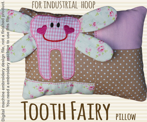 Tooth fairy pillow - for industrial hoops - ITH - In The Hoop - Machine Embroidery Design File, digital download - millymellydesigns
