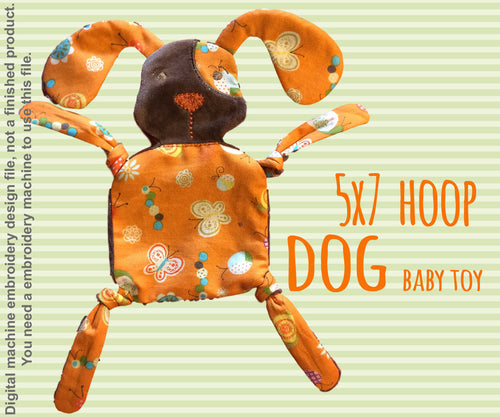 DOGGY 5x7 hoop - Baby Toy - ITH - In The Hoop - Machine Embroidery Design File, digital download millymellydesigns