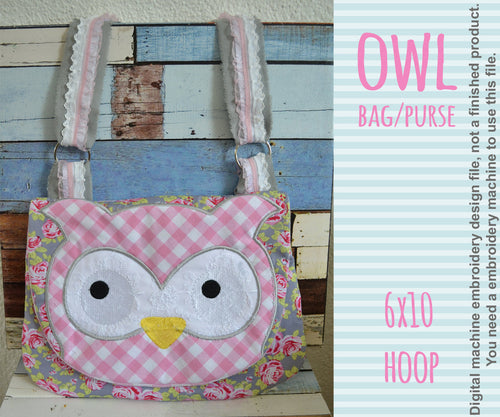 6x10 hoop OWL bag/purse, completely made in TWO hoopings! Machine Embroidery Design File, digital download millymellydesigns