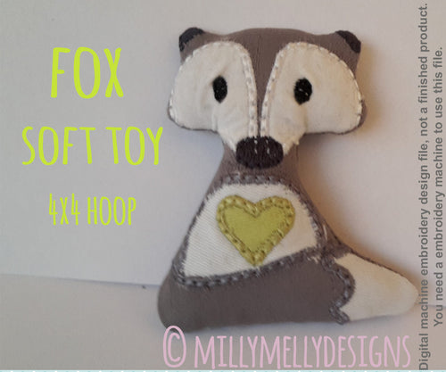 4x4 hoop - Cute fox soft toy - In The Hoop - Machine Embroidery Design File, digital download millymellydesigns