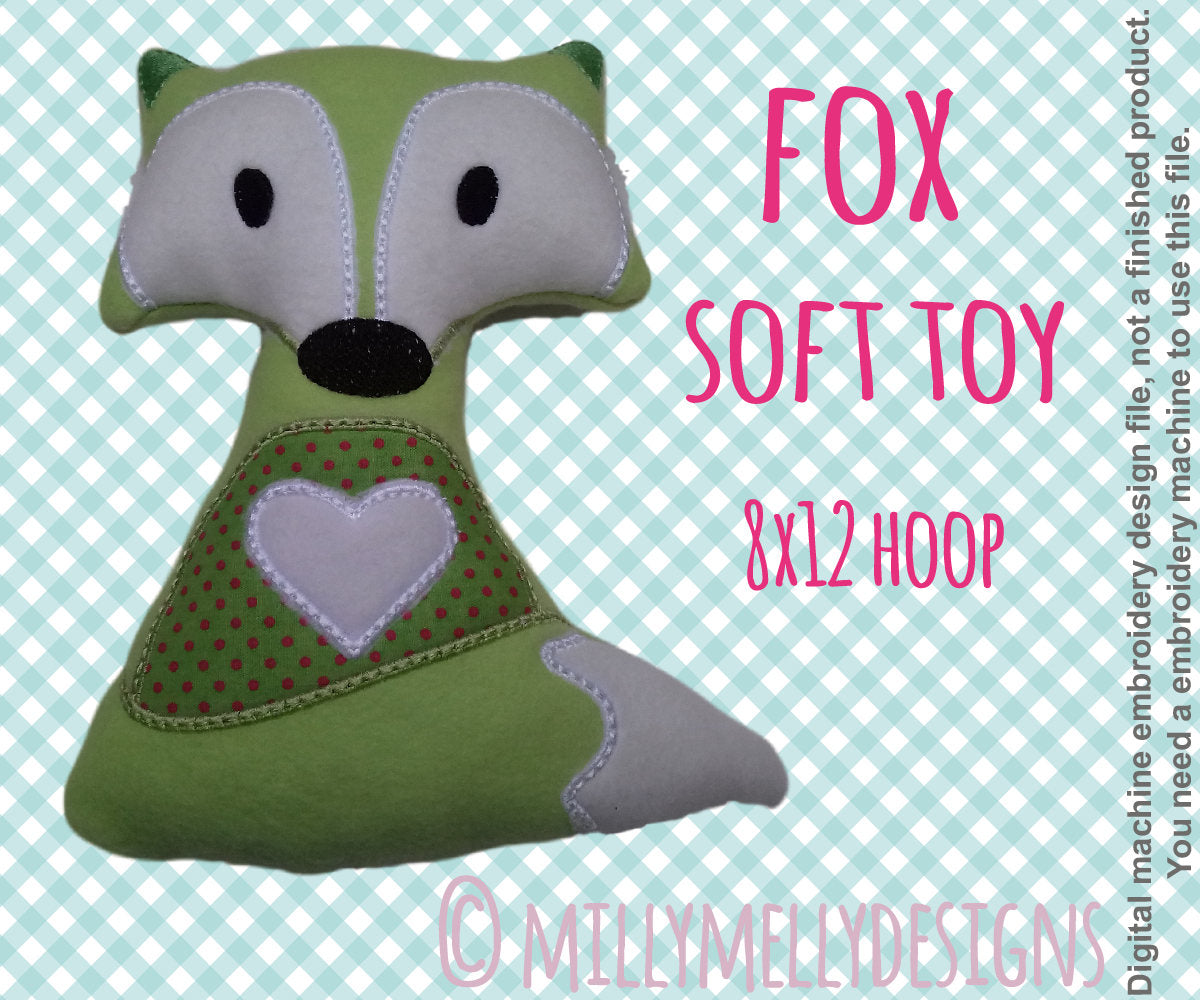 8x12 hoop - Cute fox soft toy - In The Hoop - Machine Embroidery Design File, digital download millymellydesigns