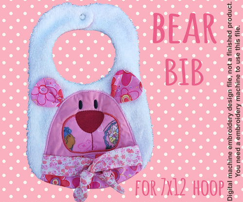 7x12 hoop - BIB - Cute BEAR - Machine Embroidery Design File, digital download millymellydesigns