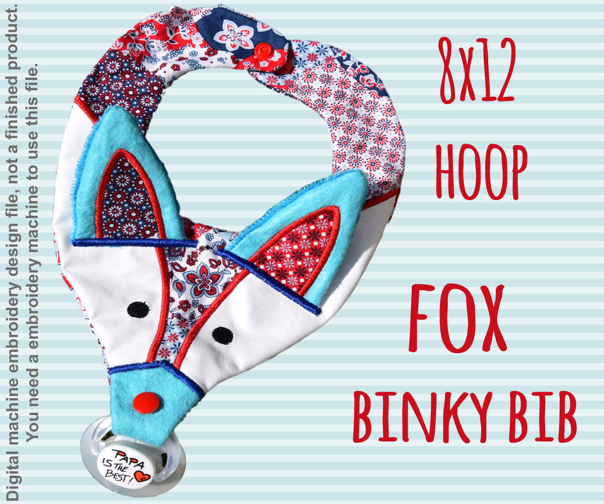 BINKY BIB FOX - 8x12 hoop  - In The Hoop - Machine Embroidery Design File, digital download - millymellydesigns