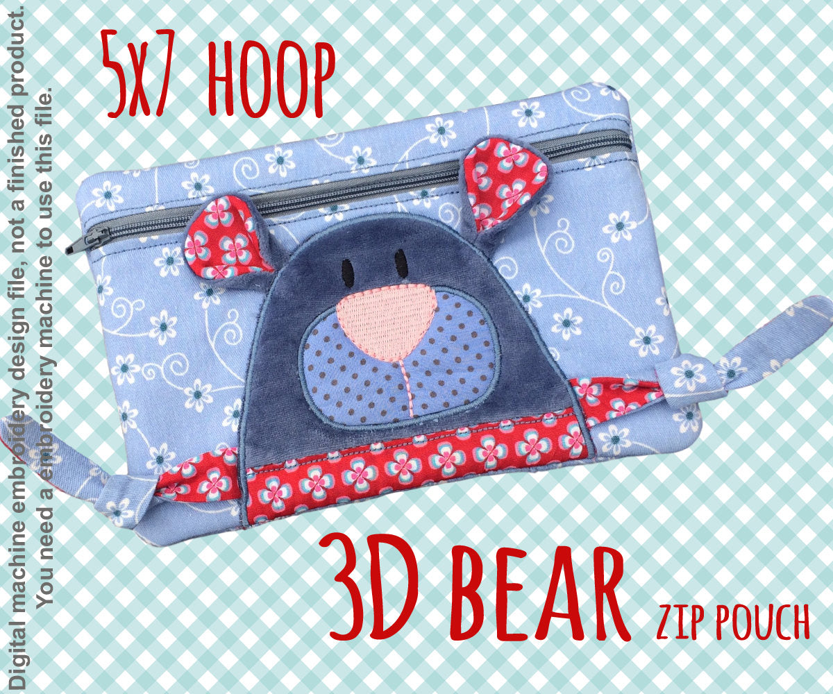 3D bear Pouch - 5x7 hoop - ITH - In The Hoop - Machine Embroidery Design File, digital download millymellydesigns
