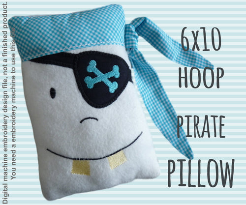 Pirate pillow - 6x10 hoop - ITH - In The Hoop - Machine Embroidery Design File, digital download millymellydesigns
