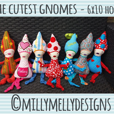 The cutest gnomes - 6x10 hoop - ITH - In The Hoop - Machine Embroidery Design File, digital download - millymellydesigns
