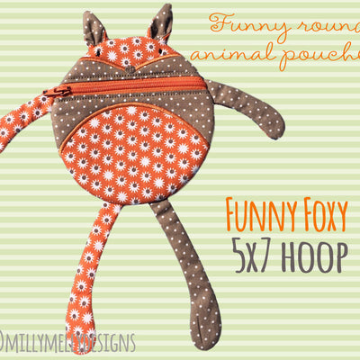 Funny pouch animal - FOX - SET of 3 sizes, 4x4, 5x7 and 6x10 - ITH - In The Hoop - Machine Embroidery Design File, digital download millymellydesigns