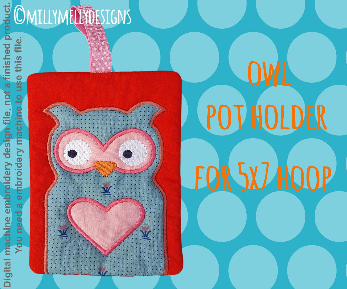 OWL potholder - 5x7 hoop - In The Hoop - Machine Embroidery Design File, digital download millymellydesigns