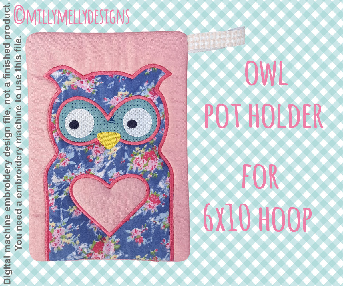 OWL potholder - 6x10 hoop - In The Hoop - Machine Embroidery Design File, digital download millymellydesigns