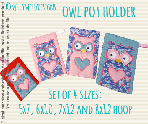OWL potholder - SET of 4 sizes: 5x7, 6x10, 7x12 and 8x12 hoop - In The Hoop - Machine Embroidery Design File, digital download millymellydesigns