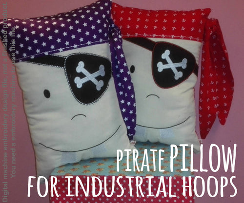 Pirate pillow - For industrial hoops - ITH - In The Hoop - Machine Embroidery Design File, digital download - millymellydesigns