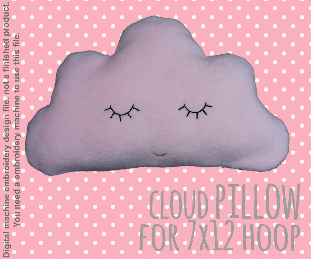 cute CLOUD pillow/soft toy - 7x12 hoop - ITH - In The Hoop - Machine Embroidery Design File, digital download - millymellydesigns