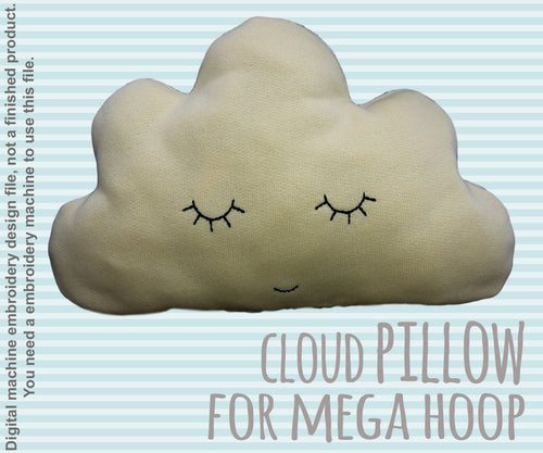 cute CLOUD pillow/soft toy - MEGA hoop - ITH - In The Hoop - Machine Embroidery Design File, digital download millymellydesigns