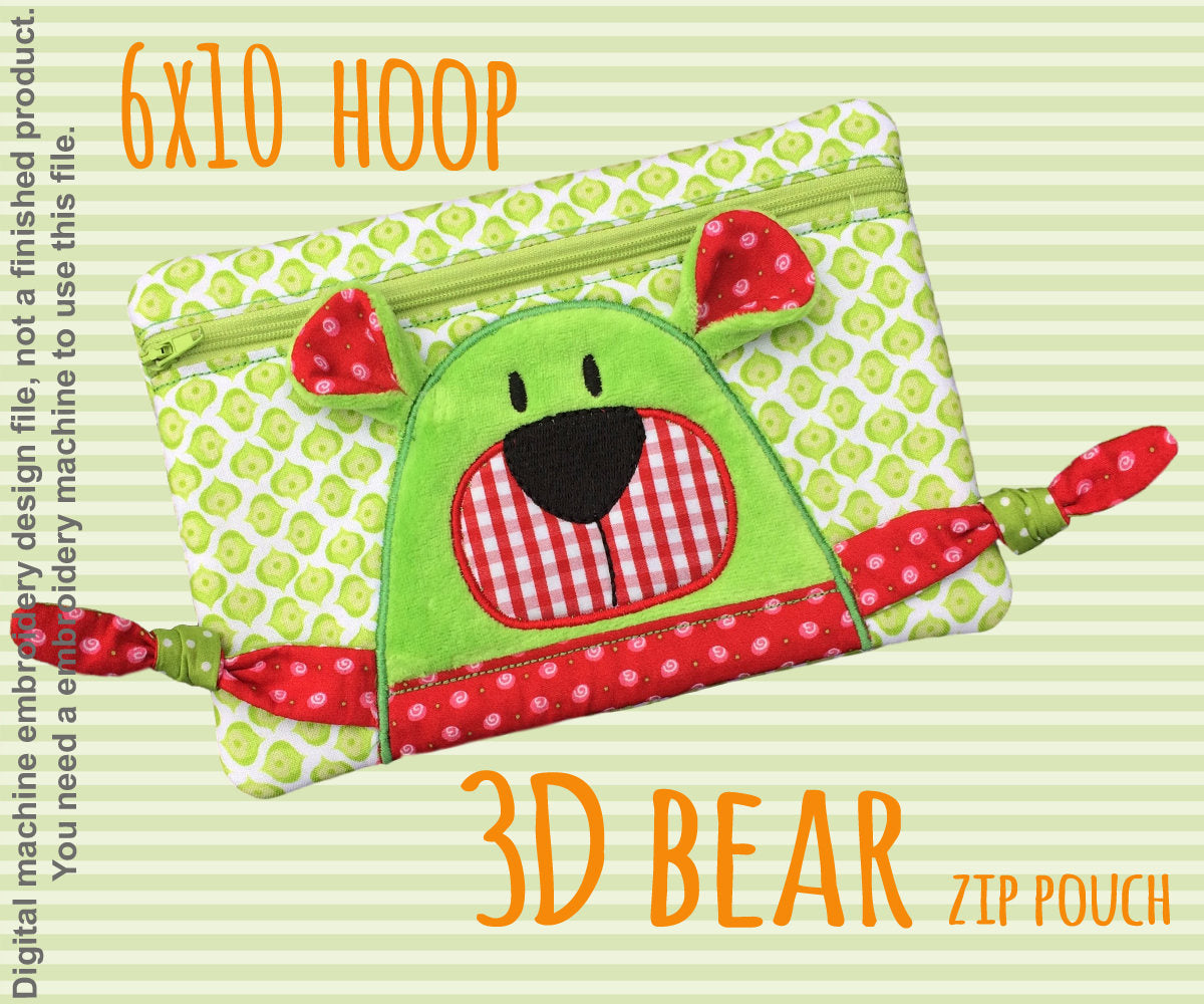 3D bear Pouch - 6x10 hoop - ITH - In The Hoop - Machine Embroidery Design File, digital download millymellydesigns