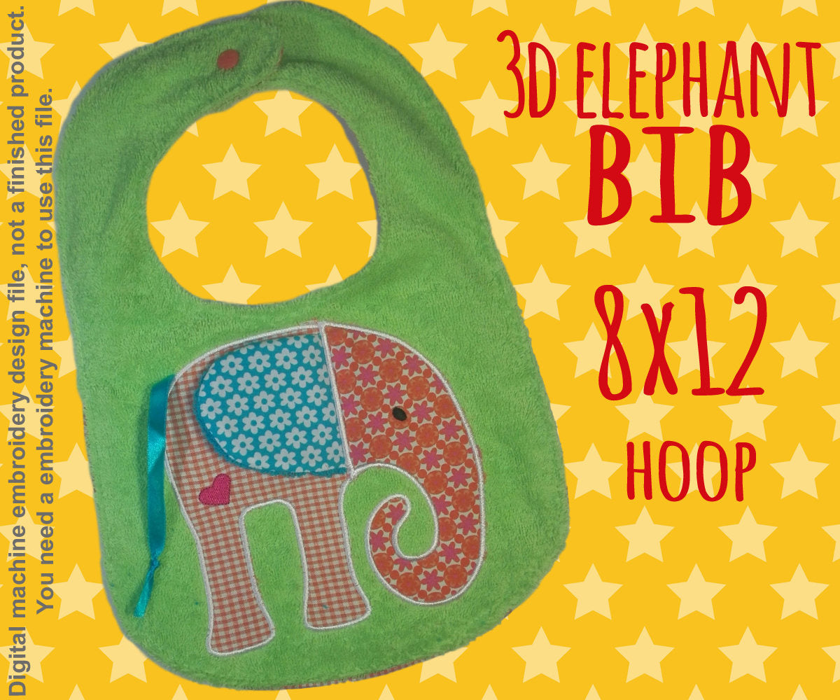 8x12 hoop - BIB - 3D elephant - Machine Embroidery Design File, digital download millymellydesigns
