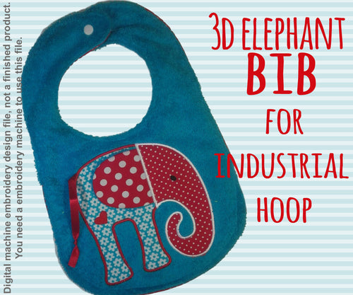 INDUSTRIAL hoop - BIB - 3D elephant - Machine Embroidery Design File, digital download - millymellydesigns