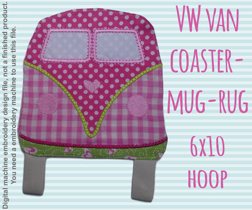 VW Van - ITH Embroidery Design - 6x10 hoop, Machine Embroidery Design File, digital download millymellydesigns