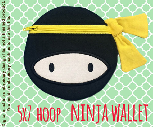 NINJA wallet pouch - 5x7 hoop - ITH - In The Hoop - Machine Embroidery Design File, digital download millymellydesigns