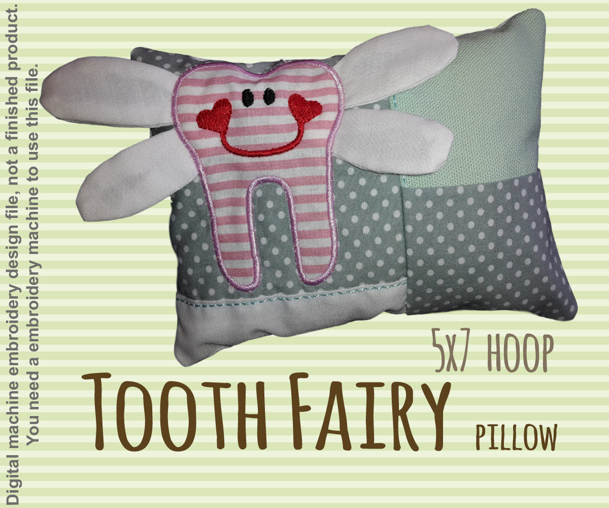 Tooth fairy pillow - 5x7 hoop - ITH - In The Hoop - Machine Embroidery Design File, digital download millymellydesigns
