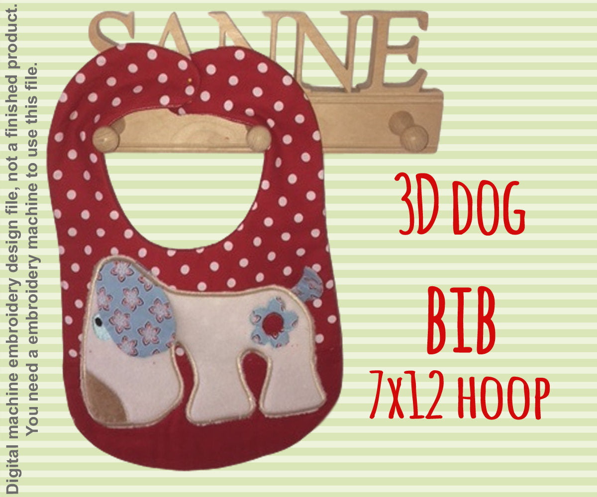 7x12 hoop - BIB - retro dog - Machine Embroidery Design File, digital download millymellydesigns