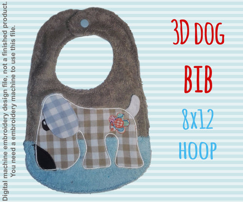 8x12 hoop - BIB - retro dog - Machine Embroidery Design File, digital download millymellydesigns