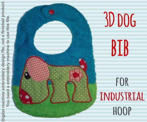 For industrial hoops! hoop - BIB - retro dog - Machine Embroidery Design File, digital download millymellydesigns