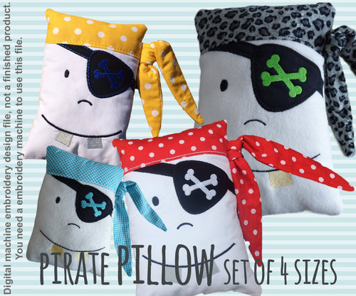 Pirate pillow - SET of 4 sizes - ITH - In The Hoop - Machine Embroidery Design File, digital download millymellydesigns