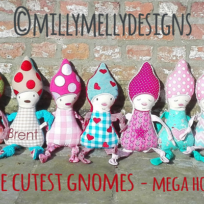The cutest gnomes - MEGA hoop - ITH - In The Hoop - Machine Embroidery Design File, digital download millymellydesigns