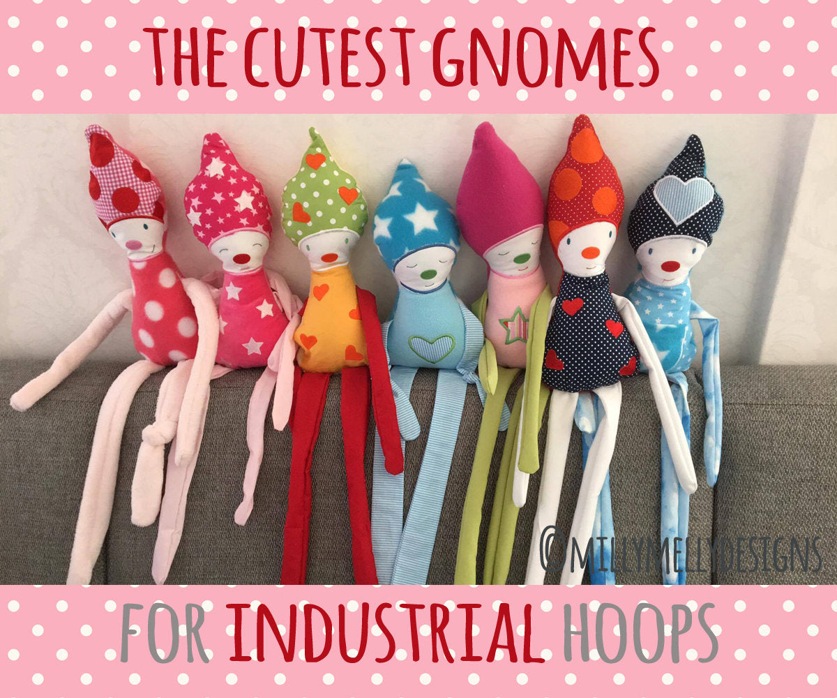 The cutest gnomes - for INDUSTRIAL hoops - ITH - In The Hoop - Machine Embroidery Design File, digital download millymellydesigns