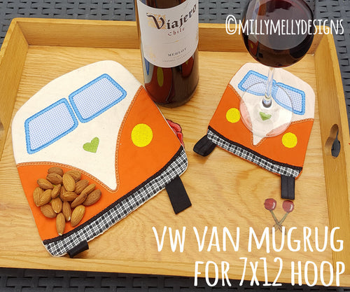 7x12 hoop - VW van Mug-Rug - ITH - In The Hoop - Machine Embroidery Design File, digital download millymellydesigns