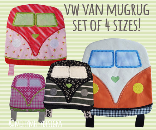 SET of 4 sizes - VW van Mug Rug and coaster - ITH - In The Hoop - Machine Embroidery Design File, digital download millymellydesigns