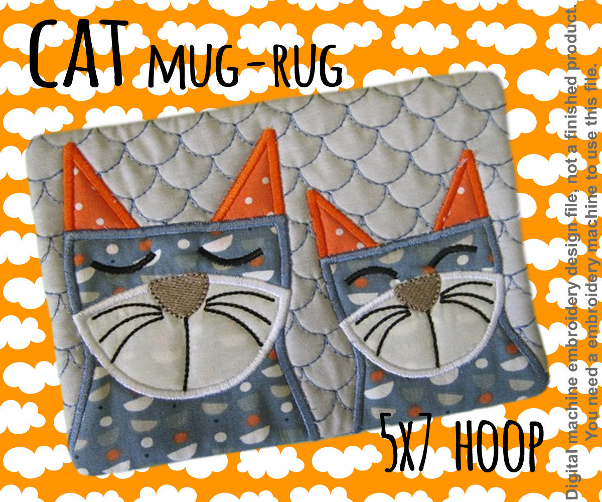 CATS mug rug - 5x7 hoop - In The Hoop - Machine Embroidery Design File, digital download millymellydesigns