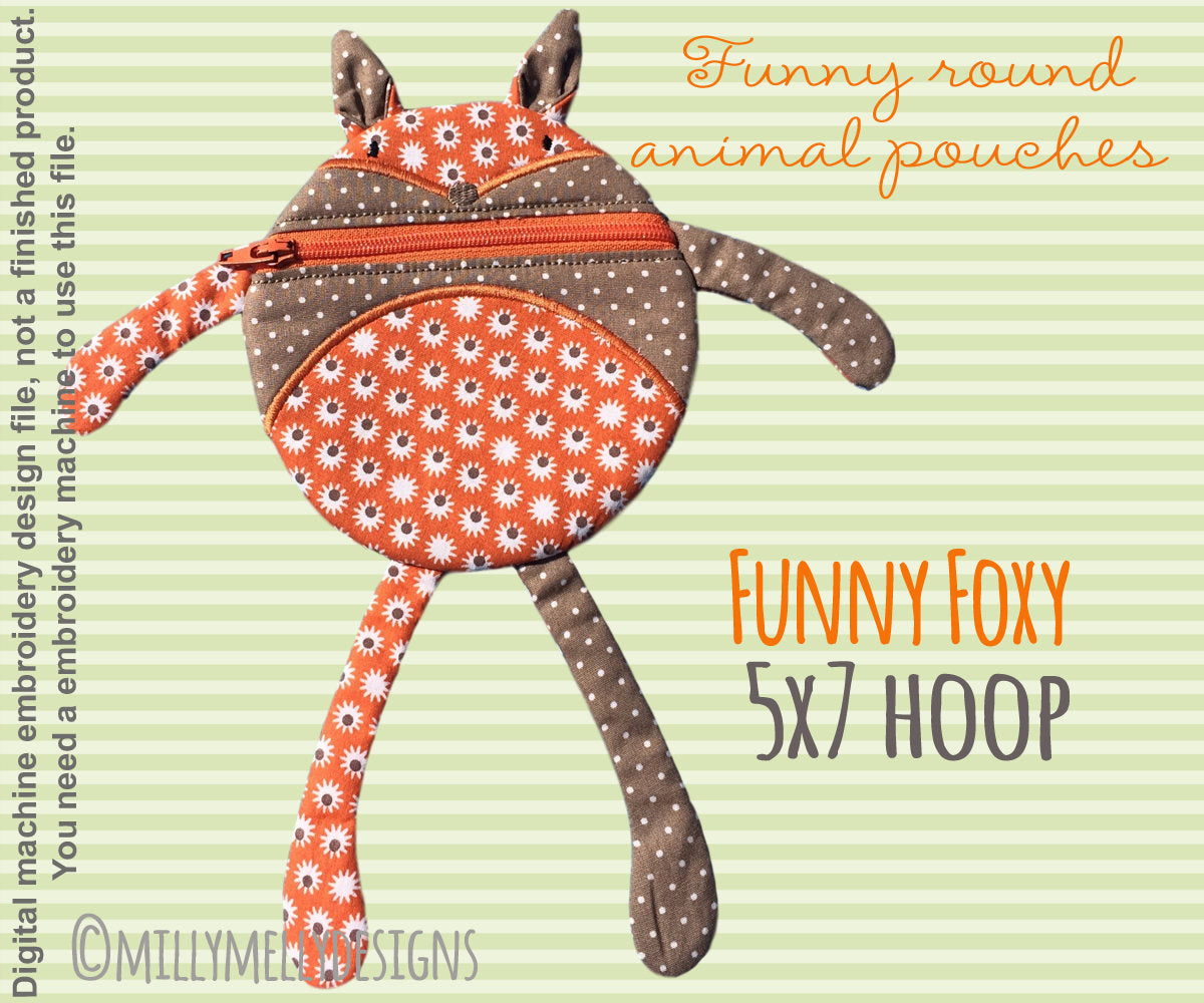 Funny pouch animal - FOX - 5x7 hoop - ITH - In The Hoop - Machine Embroidery Design File, digital download millymellydesigns