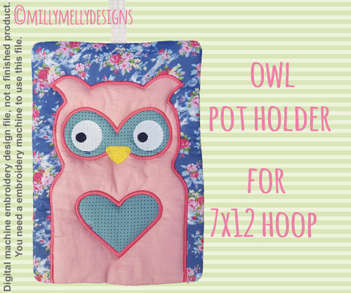 OWL potholder - 7x12 hoop - In The Hoop - Machine Embroidery Design File, digital download millymellydesigns