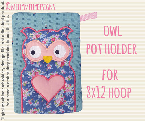 OWL potholder - 8x12 hoop - In The Hoop - Machine Embroidery Design File, digital download millymellydesigns