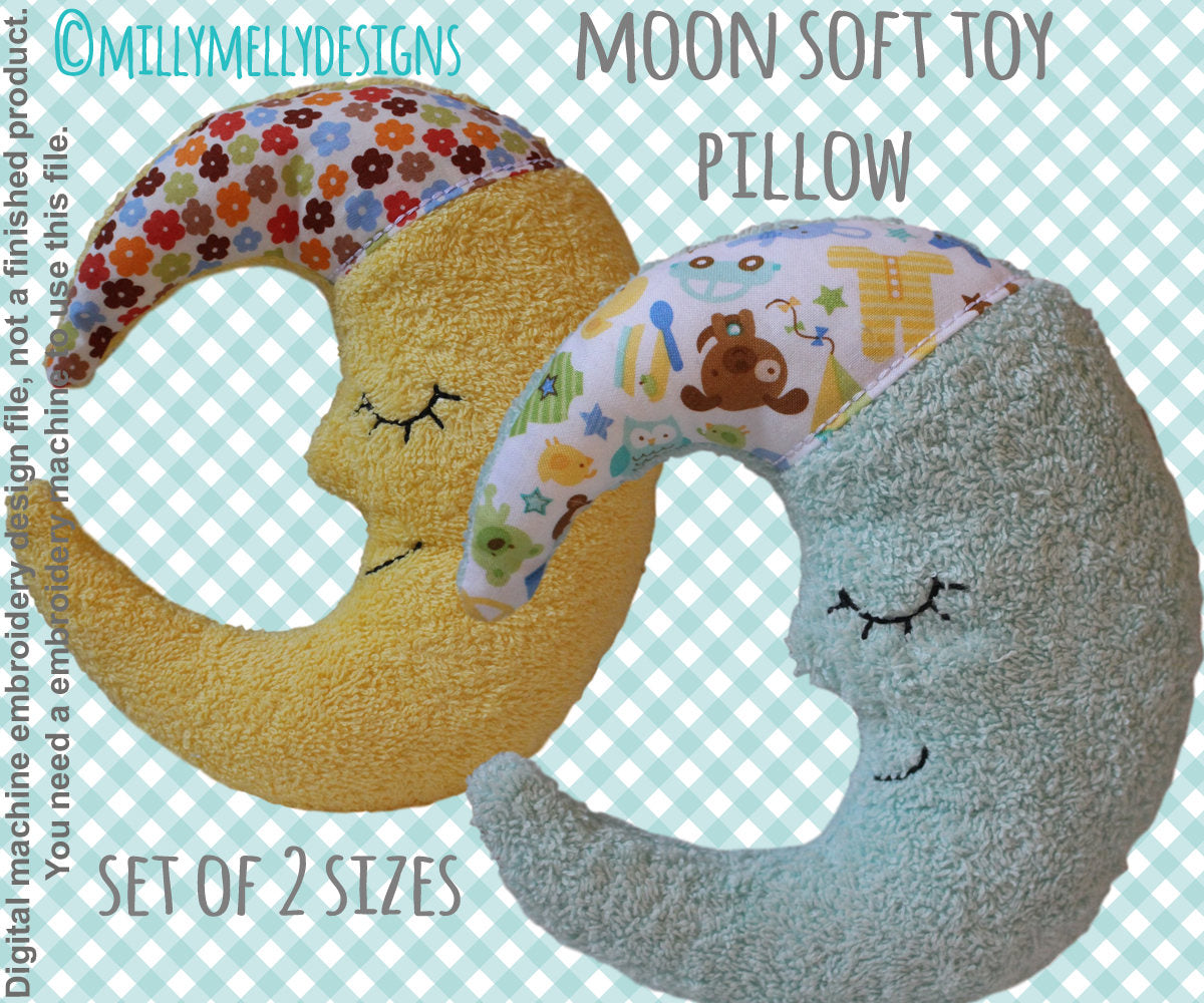 Moon pillow/soft toy - SET for 7x12 & 8x12 hoop - ITH - In The Hoop - Machine Embroidery Design File, digital download millymellydesigns