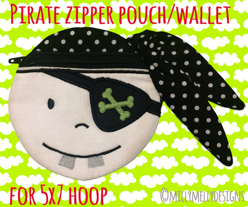 PIRATE wallet pouch - 5x7 hoop - ITH - In The Hoop - Machine Embroidery Design File, digital download millymellydesigns