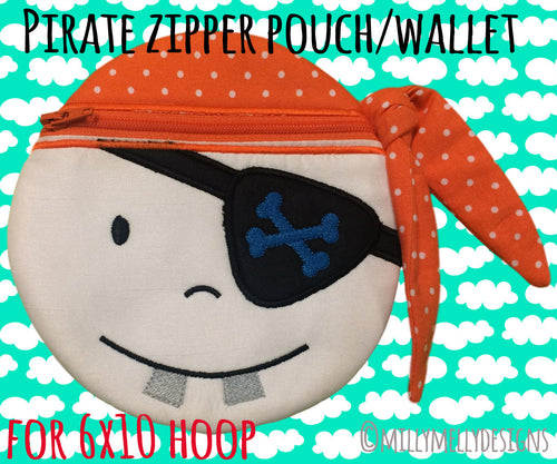 PIRATE wallet pouch - 6x10 hoop - ITH - In The Hoop - Machine Embroidery Design File, digital download millymellydesigns