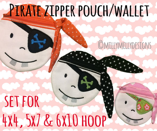 PIRATE wallet pouch - SET for the 4x4, 5x7 & 6x10 hoop - ITH - In The Hoop - Machine Embroidery Design File, digital download millymellydesigns
